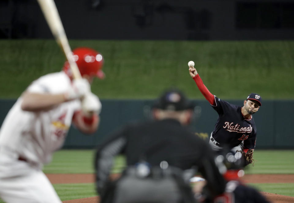 ST. LOUIS, MO - OCTOBER 11:  Anibal Sanchez #19 of the Washington Nationals pitches during Game 1 of the NLCS between the Washington Nationals and the St. Louis Cardinals on Friday, October 11, 2019 in St. Louis, Missouri. (Photo by Mark Humphrey/AP/Pool/MLB Photos via Getty Images)