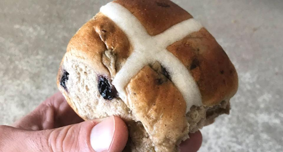 Coles hot cross bun pictured as supermarket decides to sell them all year after customer demand.