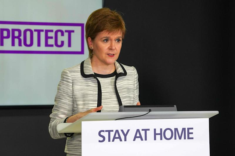 Scotland's First Minister, Nicola Sturgeon speaking by the country's continued