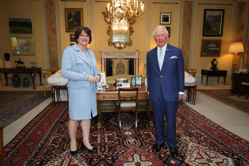 BELFAST, NORTHERN IRELAND - SEPTEMBER 30: Prince Charles, Prince of Wales meeting First Minister Arlene Foster at Hillsborough Castle on September 30, 2020 in Belfast, United Kingdom. (Photo by Press Eye - WPA Pool/Getty Images)