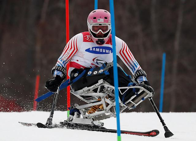 Alpine Skiing - Pyeongchang 2018 Winter Paralympics - Women's Slalom - Sitting - Run 1 - Jeongseon Alpine Centre - Jeongseon, South Korea - March 18, 2018 - Laurie Stephens of the U.S. REUTERS/Paul Hanna