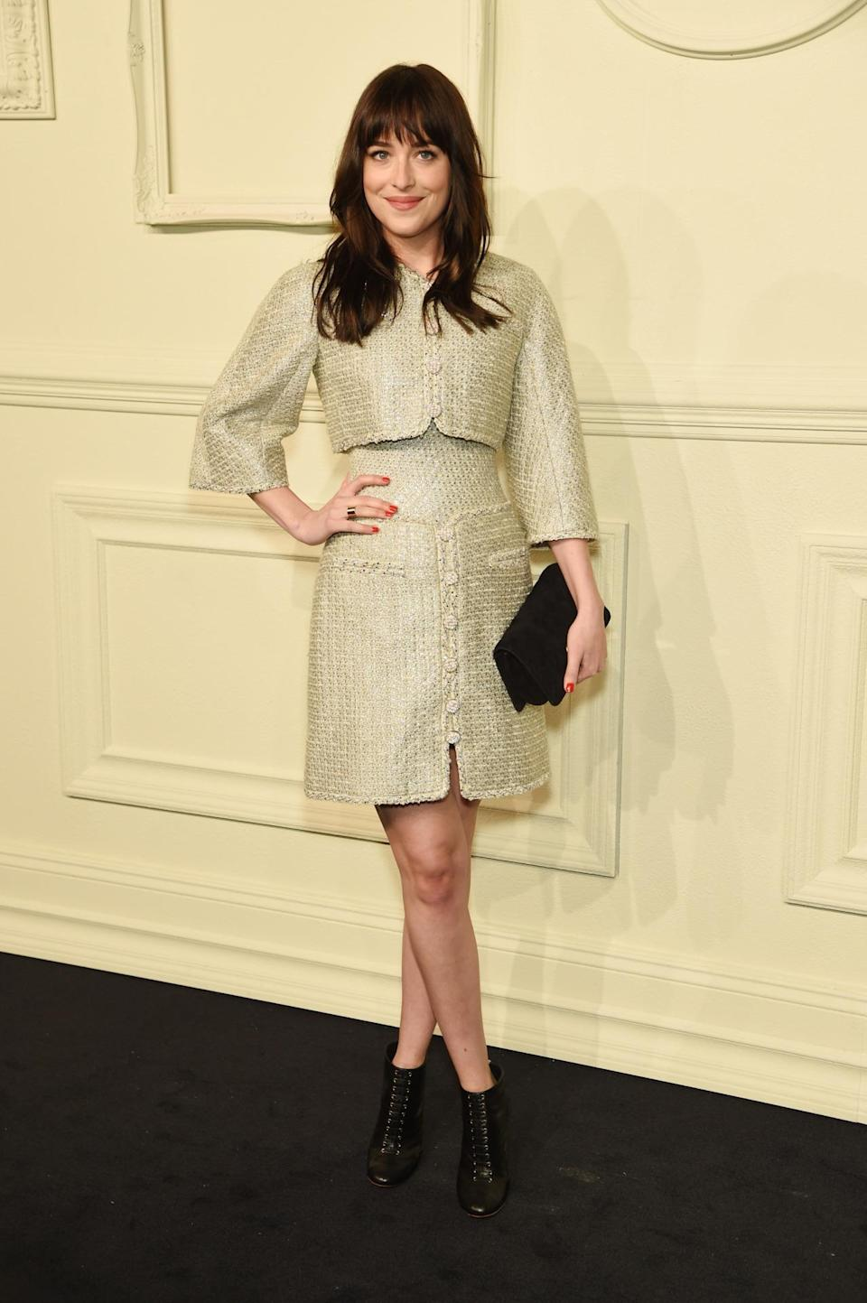 <p>The actress was one shade of gold in a couture creation by the French fashion house.</p>