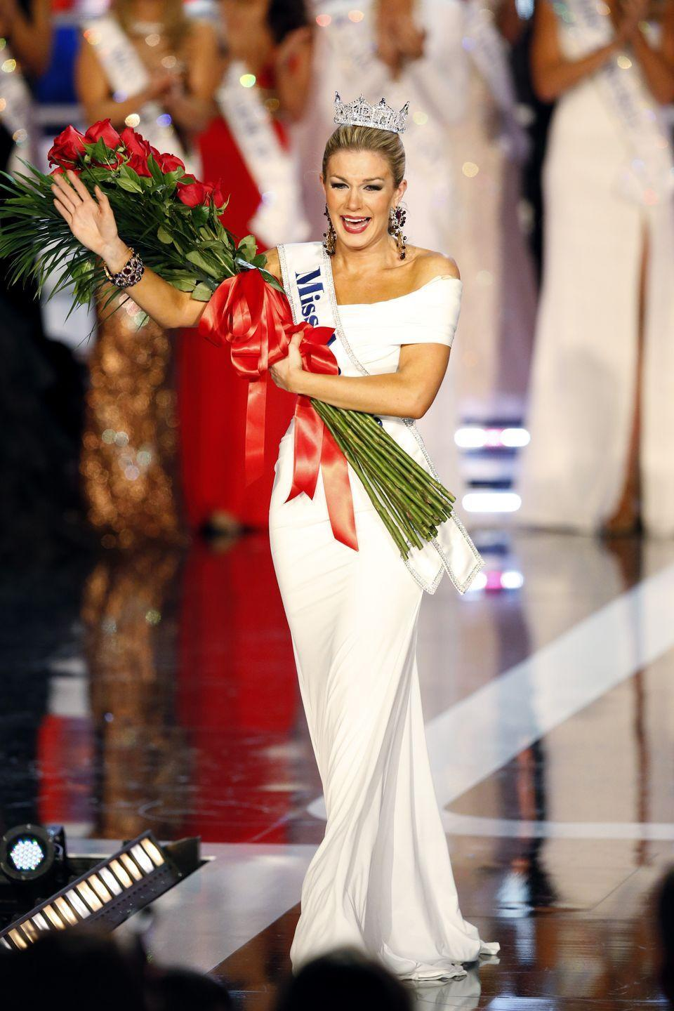 <p>The judges must have loved Mallory Hagan's classic white off-the-shoulder gown as much as the audience did, because they crowned her the winner. </p>