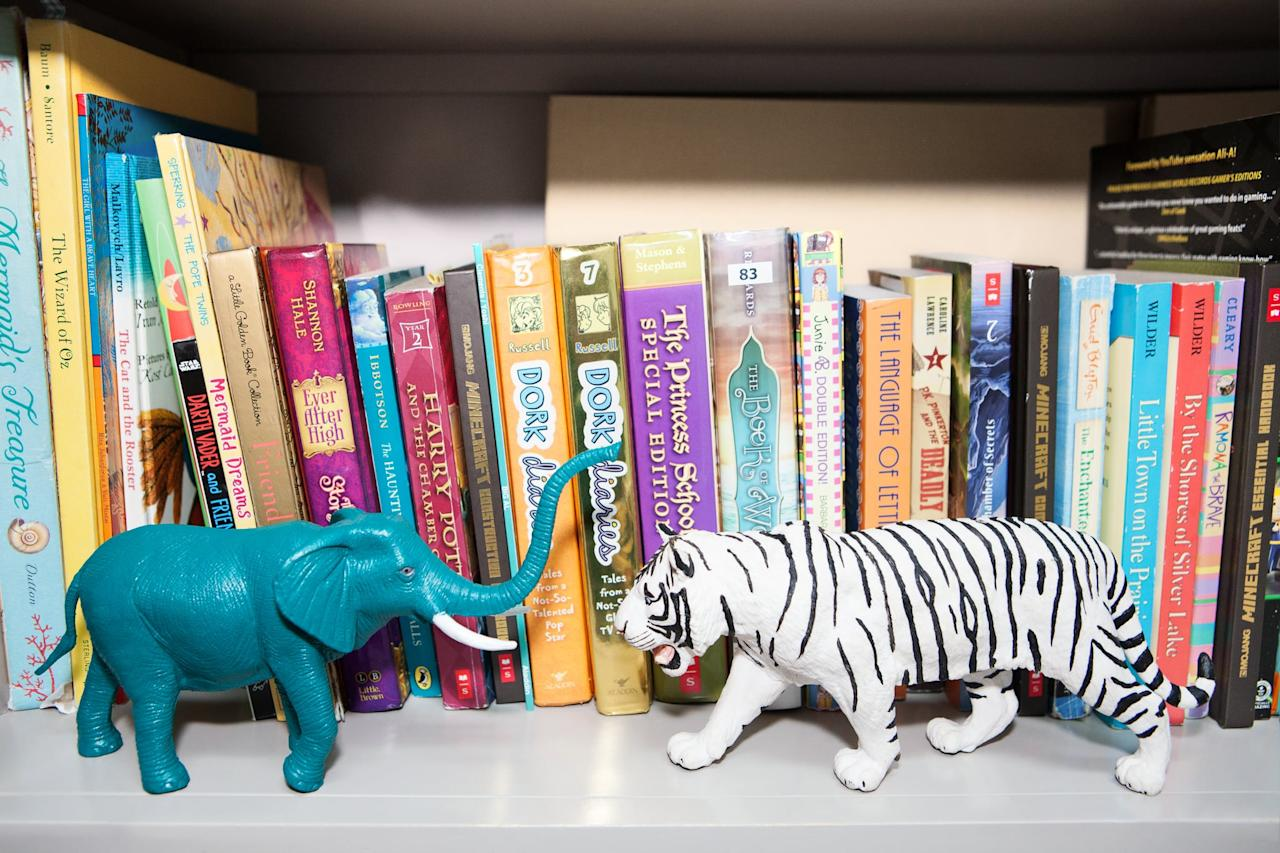 """<p>I love that my kids have amassed a huge collection of <a rel=""""nofollow"""" href=""""https://www.popsugar.com/latest/Kids-Books"""">children's books</a>, but now that my youngest is four, many of his baby and board books have been collecting dust for some time now. If you're in a similar situation, now's the time to edit your library. Books that have seen better days (teething can be brutal on board books) should be recycled, while those that are in good shape can be donated or passed down to younger friends or family members. Those that remain should be organized on a bookshelf or using another creative <a rel=""""nofollow"""" href=""""https://www.popsugar.com/moms/Storage-Solutions-Kids-Books-17758368"""">book storage solution</a>.</p>"""