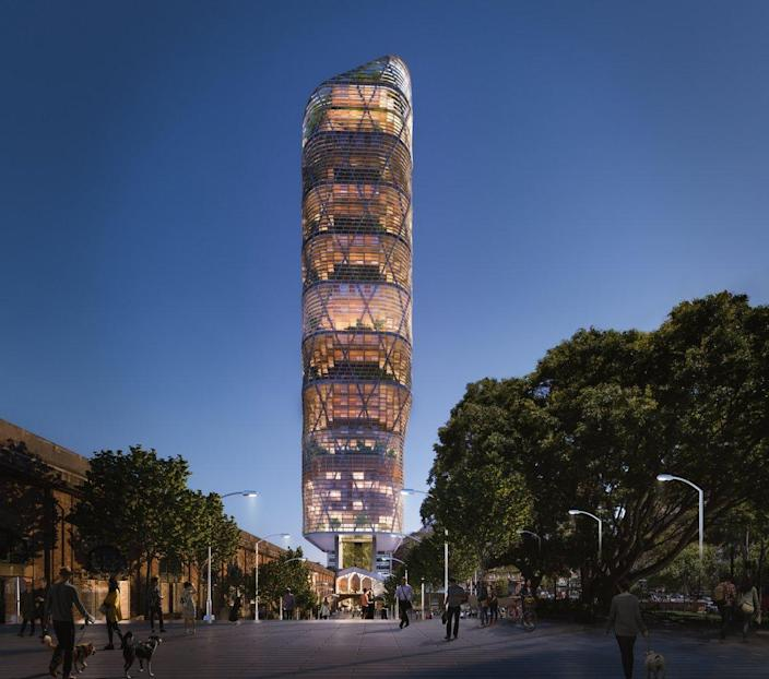 Renderings for the SHoP-designed Atlassian Sydney Headquarters, soon to be the world's tallest timber tower.