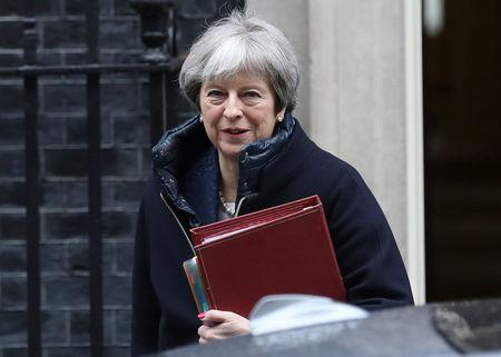 Britain's Prime Minister Theresa May leaves Downing Street after a meeting of the government's special COBRA committee in London, Britain, March 7, 2018. REUTERS/Simon Dawson