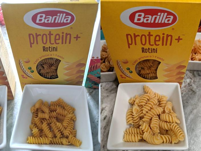 (left) uncooked barilla protein plus pasta in front of box (right) cooked barilla protein plus pasta in front of box