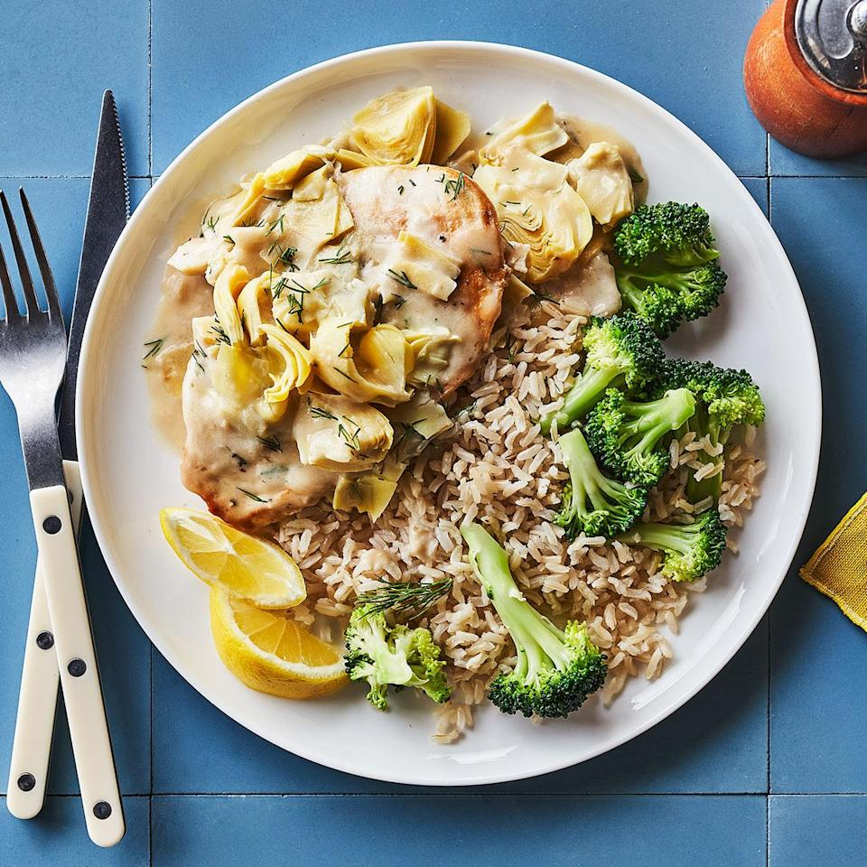 "<p>You won't want to let a drop of this creamy lemon sauce go to waste. Serve with rice pilaf or roasted potatoes to soak it all up. <a href=""http://www.eatingwell.com/recipe/281052/chicken-cutlets-with-artichokes-lemon-dill-sauce/"" rel=""nofollow noopener"" target=""_blank"" data-ylk=""slk:View recipe"" class=""link rapid-noclick-resp""> View recipe </a></p>"