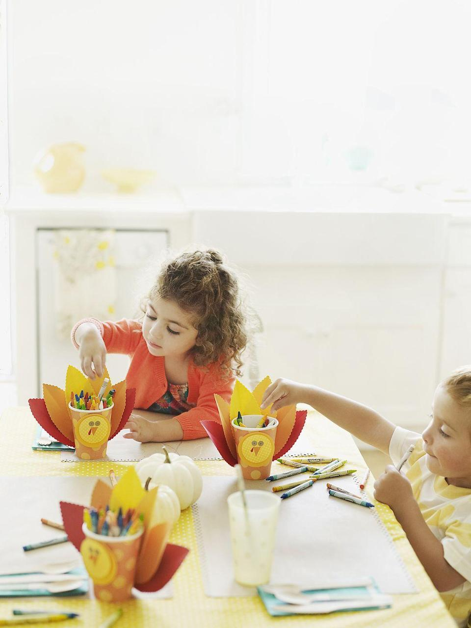 """<p>Need something to do while the turkey cooks? Try an arts and crafts project. Making something as simple as a handprint turkey will keep the kids occupied. Not to mention, it'll be a cute keepsake for years to come. </p><p><strong>RELATED: </strong><a href=""""https://www.goodhousekeeping.com/holidays/thanksgiving-ideas/g2907/thanksgiving-kids-crafts/"""" rel=""""nofollow noopener"""" target=""""_blank"""" data-ylk=""""slk:42 Easy Thanksgiving Crafts for Kids"""" class=""""link rapid-noclick-resp"""">42 Easy Thanksgiving Crafts for Kids</a></p>"""