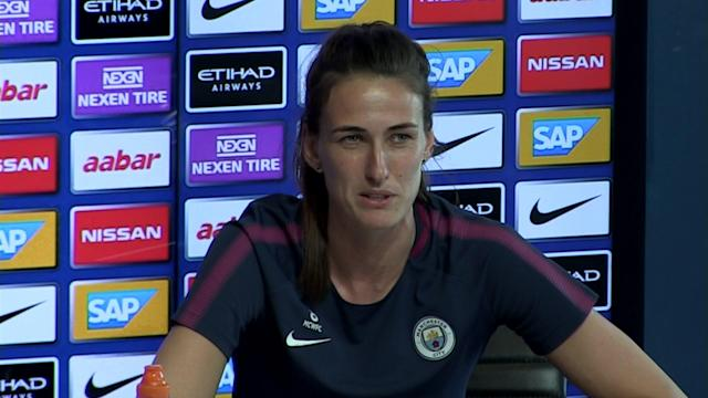 Manchester City Ladies player Jill Scott pre match press conference v Lyon in UWCL