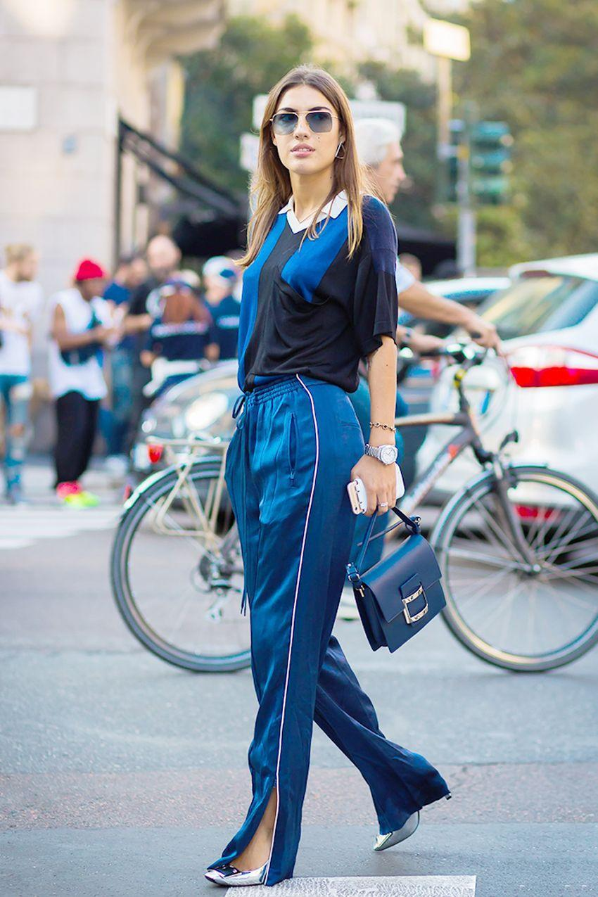 This color combo is a good way to elevate otherwise casual pieces, like a pair of track pants.