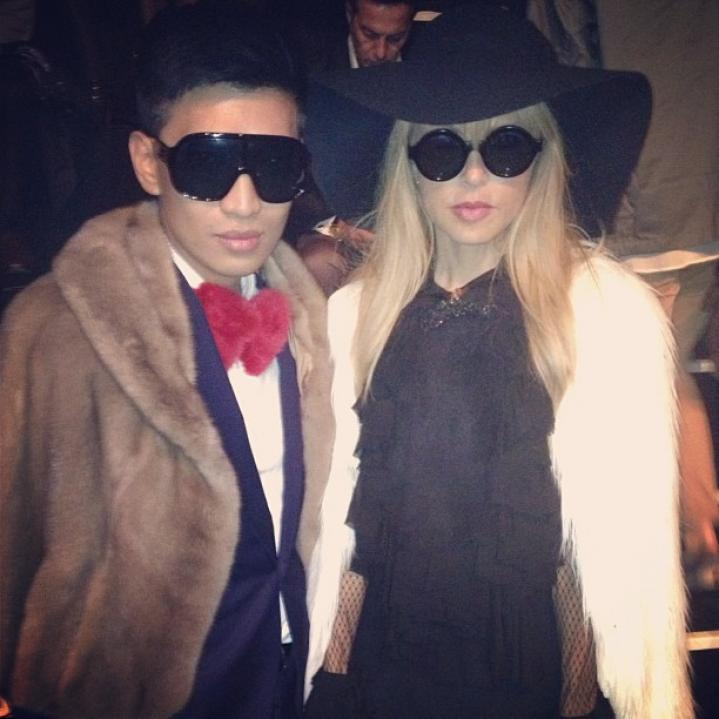 Fashion blogger BryanBoy (seen here with Rachel Zoe) has teamed up with furier Adrienne Landau for a collection of accessories, including this red-bow tie, $38, made of rabbit fur.