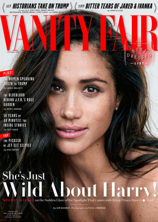 """<p>Earlier this year in another unprecedented royal move, Meghan gave a candid interview to <em>Vanity Fair</em> about her feelings for Prince Harry. """"We're two people who are really happy and in love,"""" she said. """"We were very quietly dating for about six months before it became news, and I was working during that whole time, and the only thing that changed was people's perception. Nothing about me changed. I'm still the same person that I am, and I've never defined myself by my relationship.""""<br><em>[Photo: Vanity Fair]</em> </p>"""