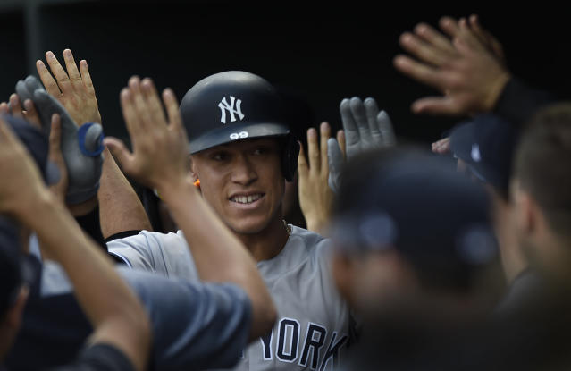 Yankees slugger Aaron Judge might be slumping, but he can still break records. (AP Photo/Gail Burton)