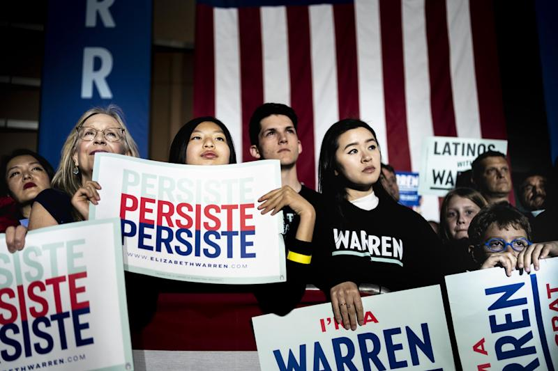 Warren supporters in Los Angeles on Monday, March 2