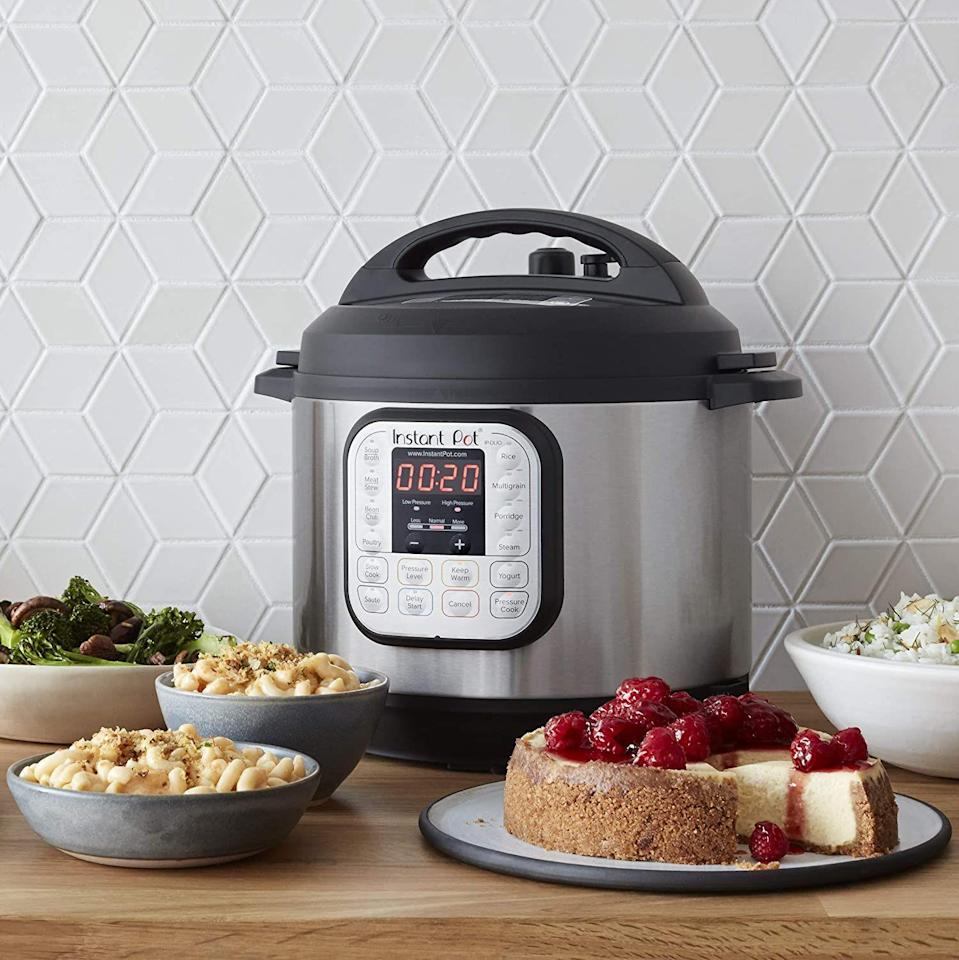 """<p><strong>Instant Pot</strong></p><p>amazon.com</p><p><strong>$79.00</strong></p><p><a href=""""https://www.amazon.com/dp/B00FLYWNYQ?tag=syn-yahoo-20&ascsubtag=%5Bartid%7C10057.g.224%5Bsrc%7Cyahoo-us"""" rel=""""nofollow noopener"""" target=""""_blank"""" data-ylk=""""slk:BUY NOW"""" class=""""link rapid-noclick-resp"""">BUY NOW</a></p><p>The Instant Pot is one of the best-selling products on Amazon, and for good reason: It's one appliance that works as a pressure cooker, rice cooker, slow cooker, yogurt maker, steamer, and warmer that you can also sauté in. What's not to love?</p>"""