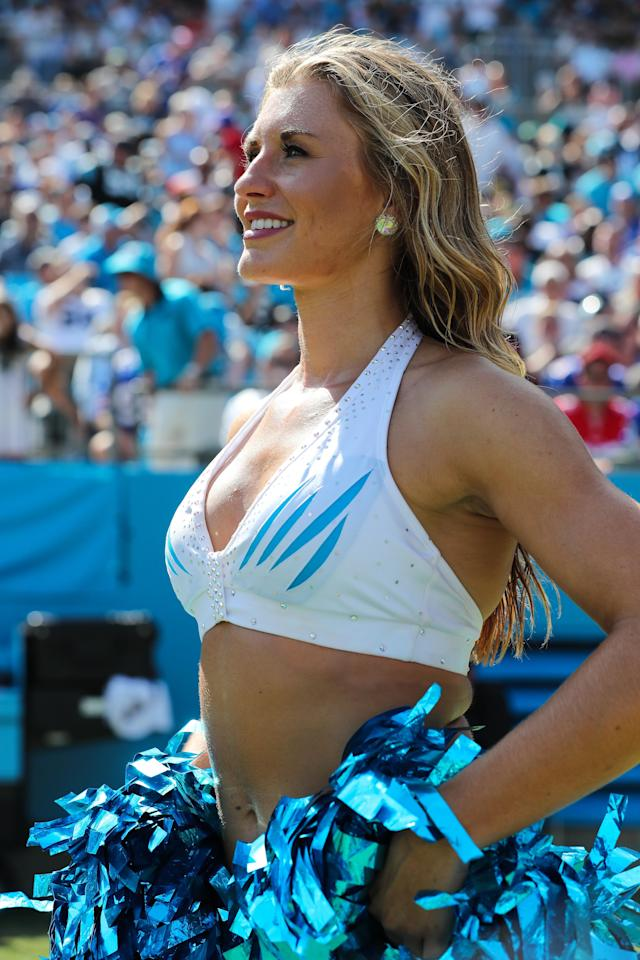 <p>Carolina Panthers Topcat Cheerleader during second half action between the Carolina Panthers and the Buffalo Bills on September 17, 2017 at Bank of America Stadium in Charlotte,NC. (Photo by Jim Dedmon/Icon Sportswire) </p>