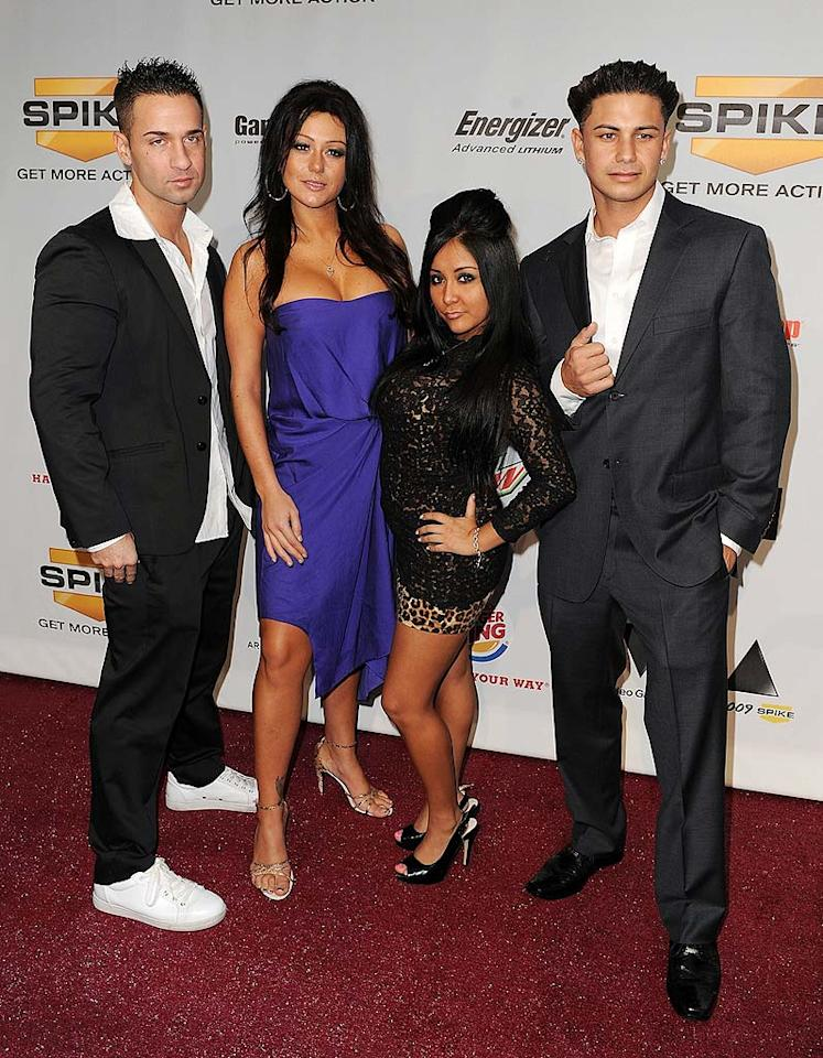 """Jersey Shore's"" Mike ""The Situation"" Sorrentino, Jenni ""JWoww"" Farley, Nicole ""Snooki"" Polizzi, and Pauly D. definitely take tanning a tad too seriously. Frazer Harrison/<a href=""http://www.gettyimages.com/"" target=""new"">GettyImages.com</a> - December 12, 2009"