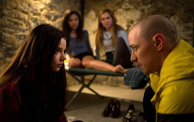 SPLIT, l-r: Anya Taylor-Joy, Haley Lu Richardson, Jessica Sula, James McAvoy, 2016 (Photo: Everett)