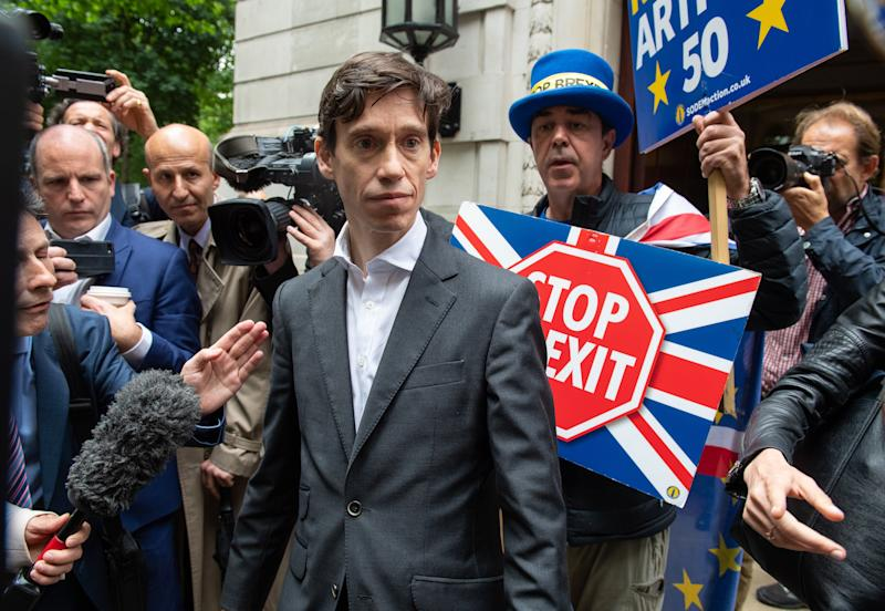 Conservative party leadership contender Rory Stewart outside Millbank television studios in London.
