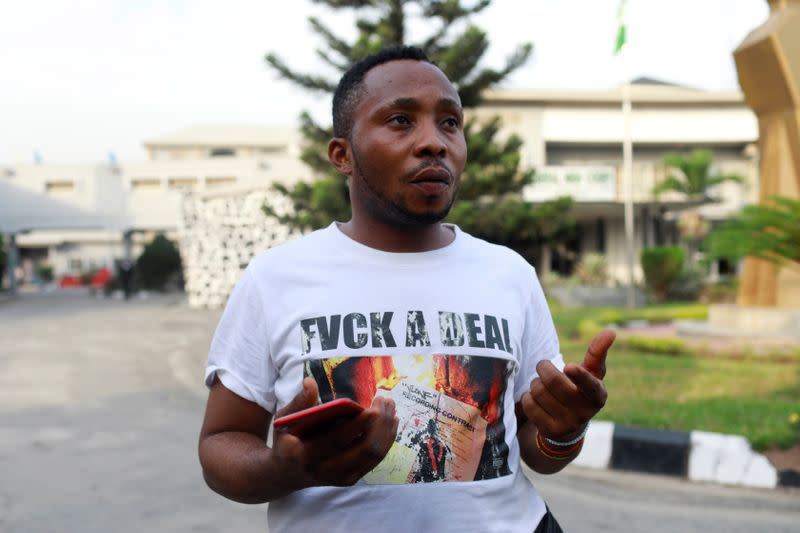 Desmond Onouah, one of the men charged with public display of affection with members of the same sex, speaks to Reuters during an interview at the Federal High Court in Lagos