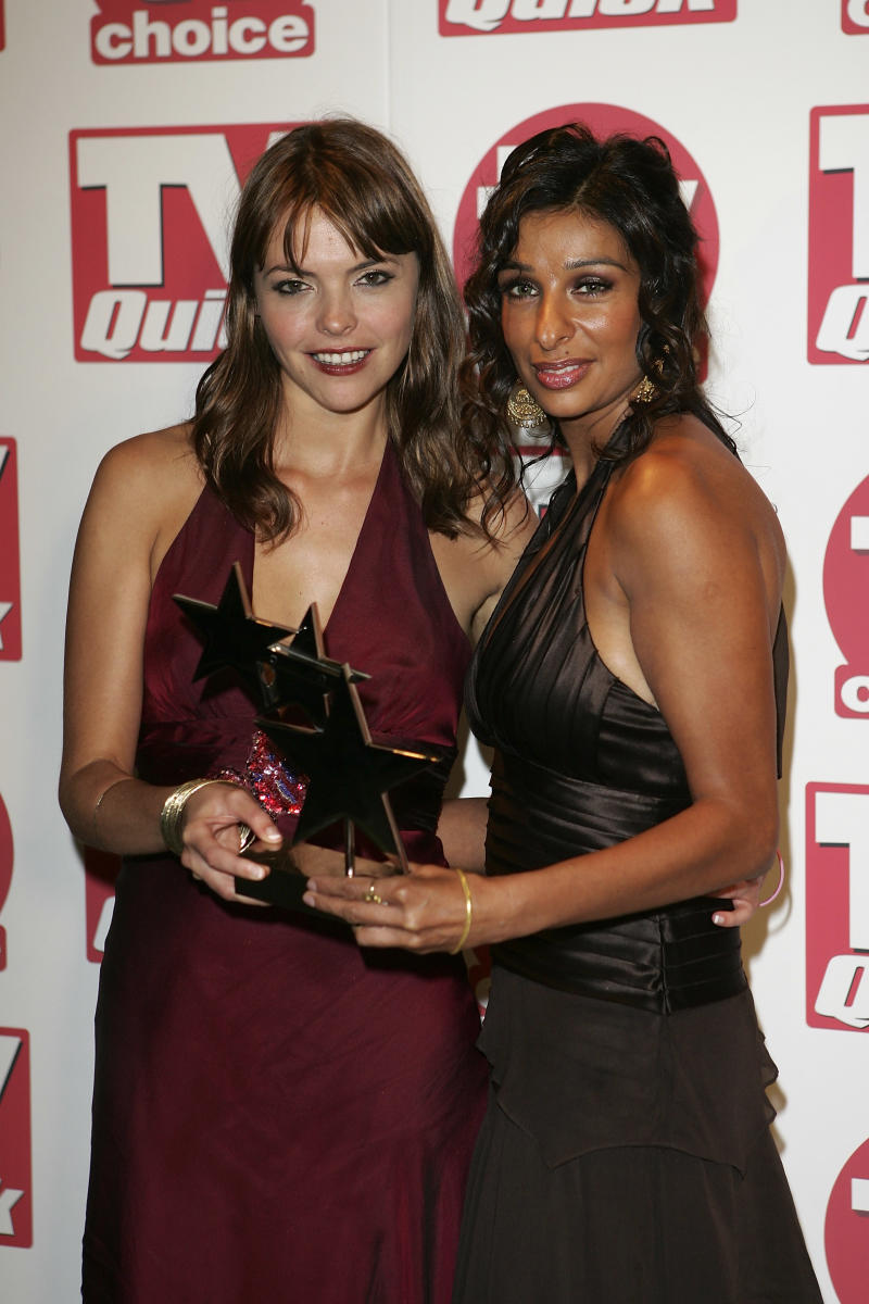 LONDON - SEPTEMBER 5: (from left to right) Actresses Kate Ford and Shobna Gulati pose with their award for 'Best Soap' at the TV Quick and TV Choice Awards at the Dorchester Hotel, Park Lane on September 5, 2005 in London, England. (Photo by MJ Kim/Getty Images)