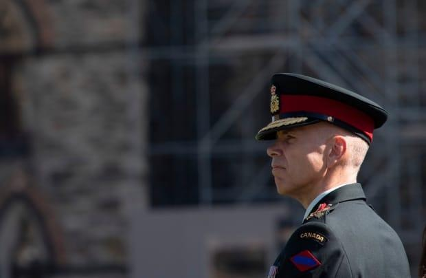 Lt.-Gen. Wayne Eyre listens to speakers during a change of command parade for the Canadian Army on Parliament Hill Tuesday, August 20, 2019 in Ottawa. (Adrian Wyld/The Canadian Press - image credit)