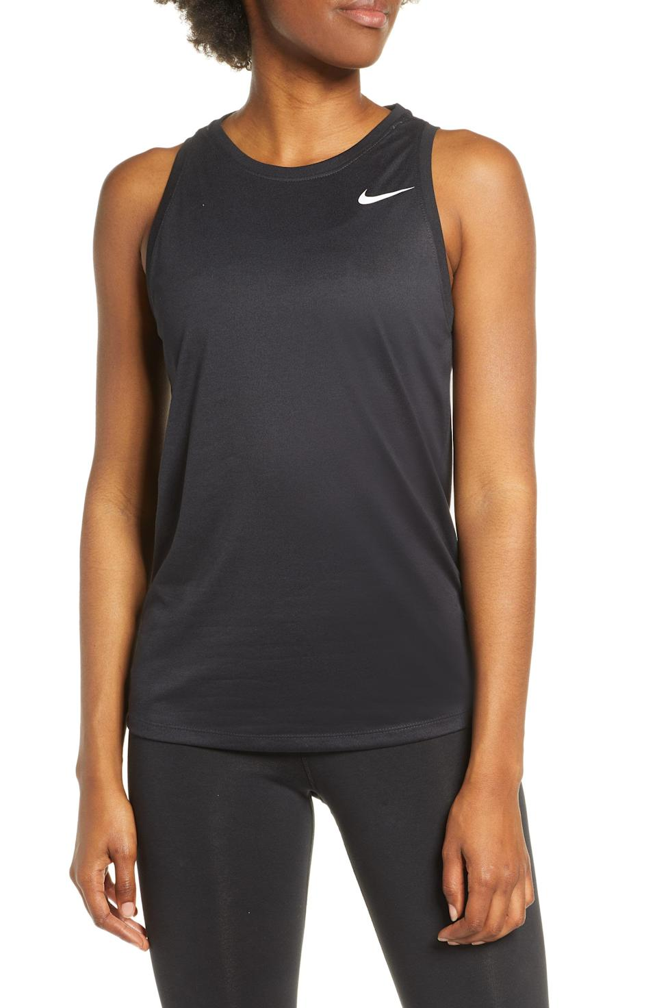 """<p><strong>NIKE</strong></p><p>nordstrom.com</p><p><strong>$18.75</strong></p><p><a href=""""https://go.redirectingat.com?id=74968X1596630&url=https%3A%2F%2Fwww.nordstrom.com%2Fs%2Fnike-legend-dri-fit-training-tank%2F5369402&sref=https%3A%2F%2Fwww.prevention.com%2Ffitness%2Fworkout-clothes-gear%2Fg37542513%2Fworkout-tops-for-women%2F"""" rel=""""nofollow noopener"""" target=""""_blank"""" data-ylk=""""slk:Shop Now"""" class=""""link rapid-noclick-resp"""">Shop Now</a></p><p>This Nike Dri-FIT tank has a flexible material that helps keep you cool and moving naturally from your first stretch well into the afterburn. Its lightweight fabric is <strong>made with 75% recycled polyester fibers and it has an antimicrobial material that prevents odor-causing bacteria</strong>.</p>"""