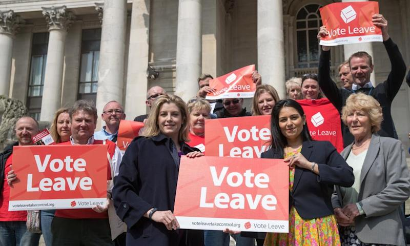 Priti Patel, then employment minister, with Penny Mordaunt and Conservative party members with the Vote Leave battlebus in Portsmouth, 2016.