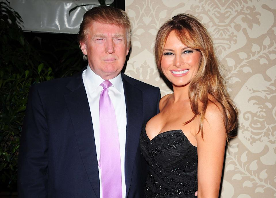 Donald Trump with his wife Melania Knauss. QVC Red Carpet Style Party held at the Four Seasons Hotel. 25 February 2011, Beverly Hills, CA. Photo Credit: Giulio Marcocchi/Sipa Press./QVC2_gm.045/1102261326