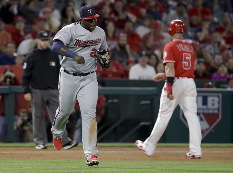 Miguel Sano was pretty excited after starting a triple play. (AP Photo)