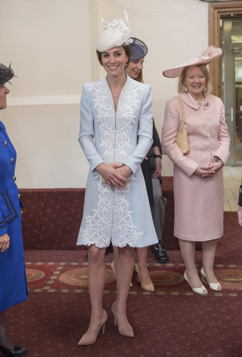 <p>Another outfit from the Queen's 90th birthday: this one featured a pale blue coat dress with lace detailing by Catherine Walker along with Kate's go-to L.K. Bennett box clutch and suede Gianvito Rossi heels.</p><p><i>[Photo: PA]</i></p>