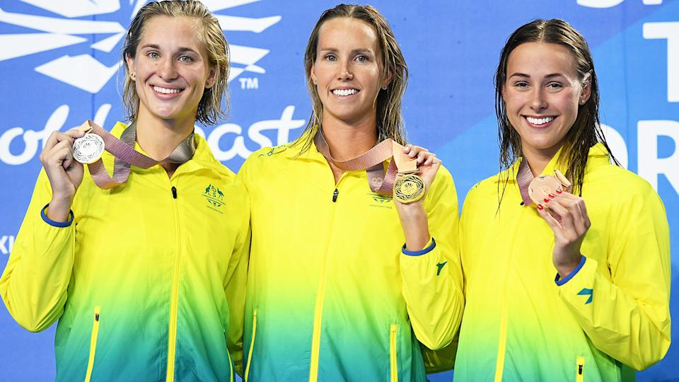 Madeline Groves, Emma McKeon and Brianna Throssell at the Commonwealth Games in 2018.