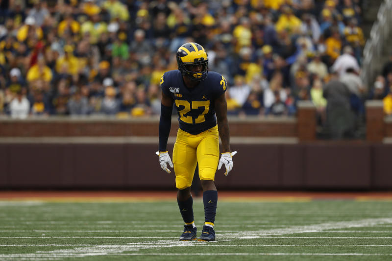Michigan defensive back Hunter Reynolds (27) plays against Rutgers in the second half of an NCAA college football game in Ann Arbor, Mich., Saturday, Sept. 28, 2019. (AP Photo/Paul Sancya)