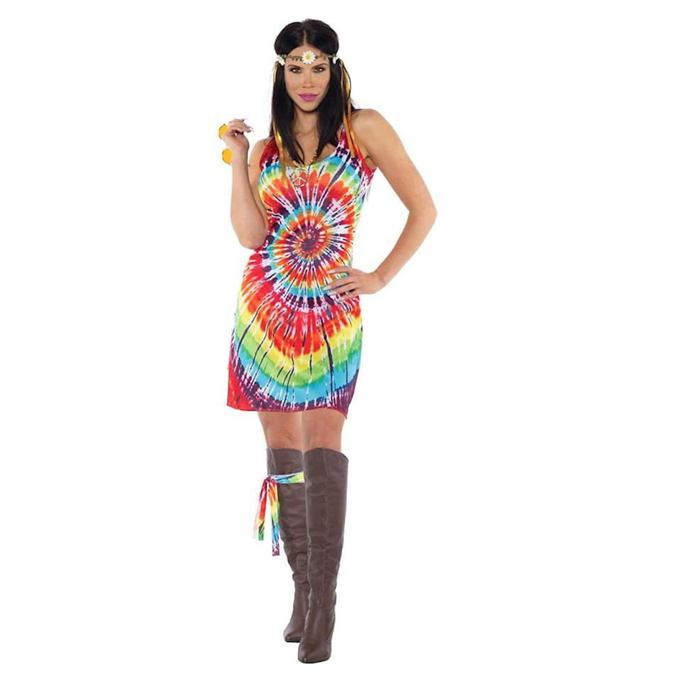 <p>Embrace the 70's with the stylish <span>Underwraps Costumes Tie Dye Mini Dress Adult Costume</span> ($25). You'll be able to chill out and let the others do the haunting. </p>