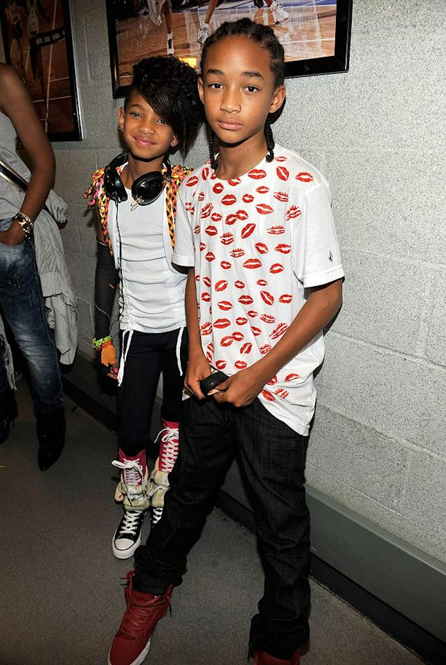 """Of course, the coolest kids in town, Will Smith's daughter Willow and son Jaden, were at the gig. 12-year-old Jaden even rapped onstage during Justin's performance of """"Never Say Never,"""" a song from his hit movie, """"The Karate Kid."""" Kevin Mazur/<a href=""""http://www.wireimage.com"""" target=""""new"""">WireImage.com</a> - August 31, 2010"""