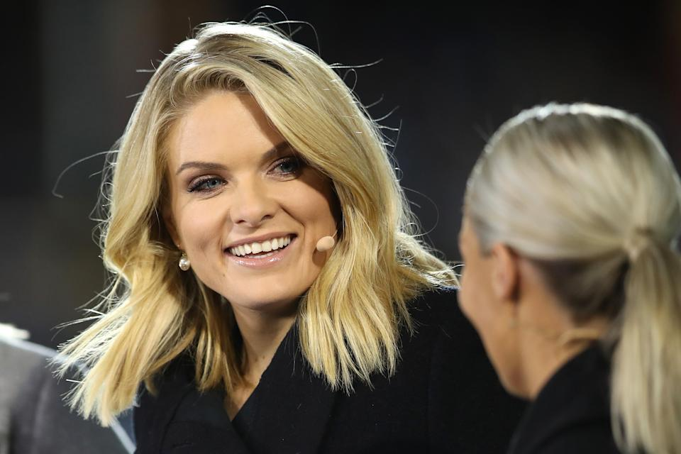 TV presenter Erin Molan laughing before the Women's State of Origin match.