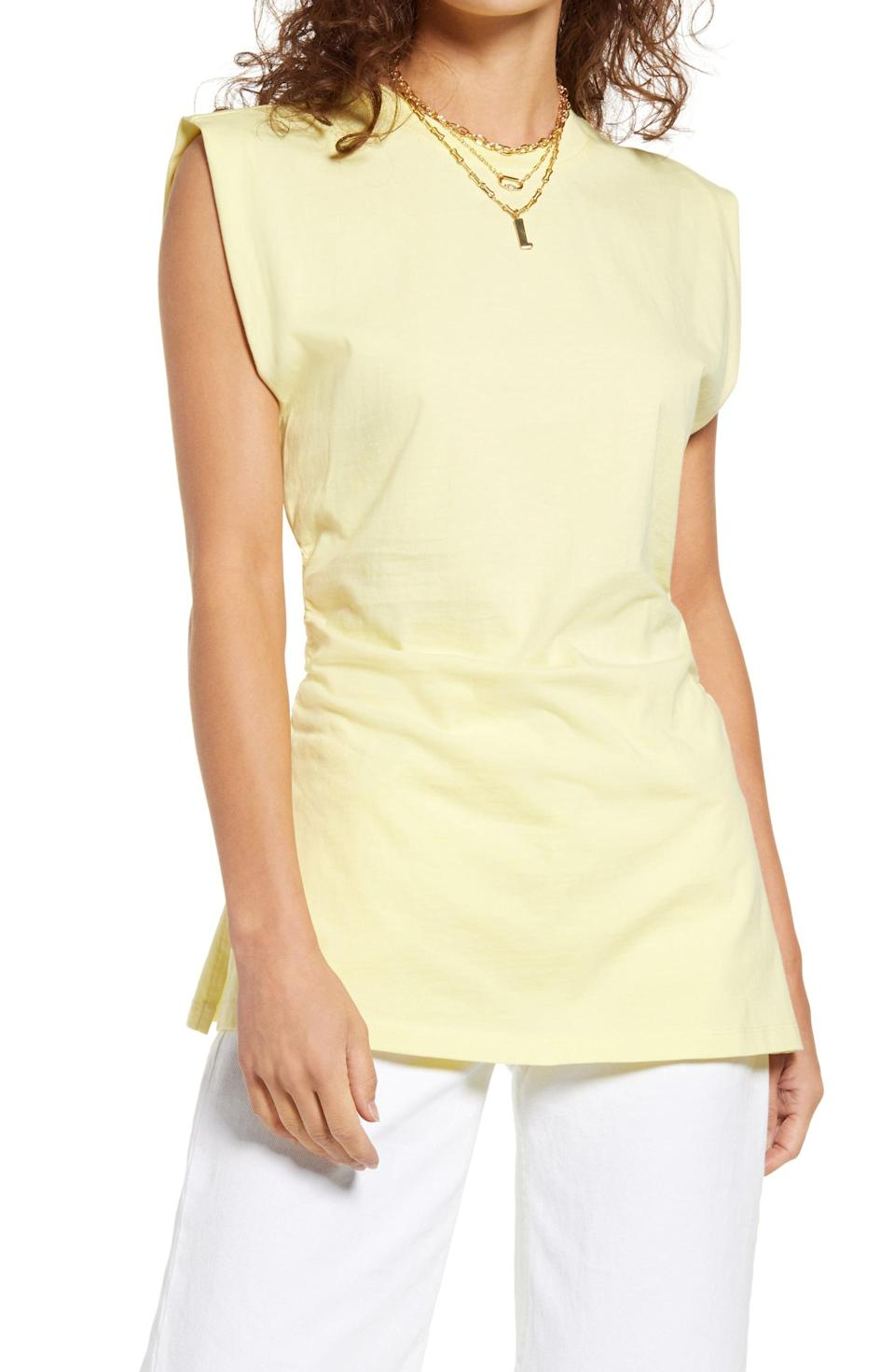 <p>This <span>Open Edit Side Ruched Sleeveless Tunic</span> ($25) is cut from organic-cotton jersey for<br> breathable comfort.</p>