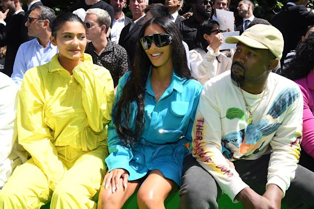 Kylie Jenner, Kim Kardashian, and Kanye West. (Photo: Getty Images)