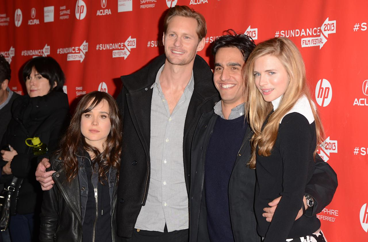 "PARK CITY, UT - JANUARY 20:  (L -R) Actress Ellen Page, actor Alexander Skarsgard, director Zal Batmanglij, and actress Brit Marling attend the ""The East"" premiere  at Eccles Center Theatre on January 20, 2013 in Park City, Utah.  (Photo by Jason Merritt/Getty Images)"