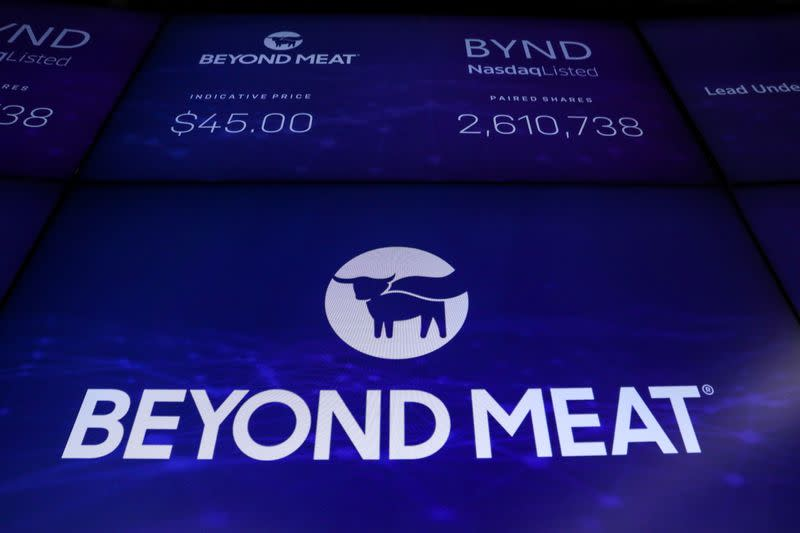 The company logo and trading information for Beyond Meat is displayed on a screen during the IPO at the Nasdaq Market site in New York
