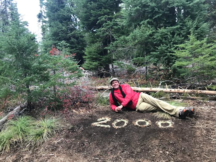 Robb Campbell reaches mile 2,000 on his journey hiking the Pacific Crest Trail. Courtesy of Robert Campbell