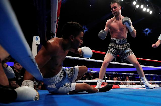 Boxing - Josh Taylor vs Winston Campos - WBC Silver Super-Lightweight Title - Glasgow, Britain - March 3, 2018 Winston Campos is knocked down by Josh Taylor Action Images via Reuters/Lee Smith