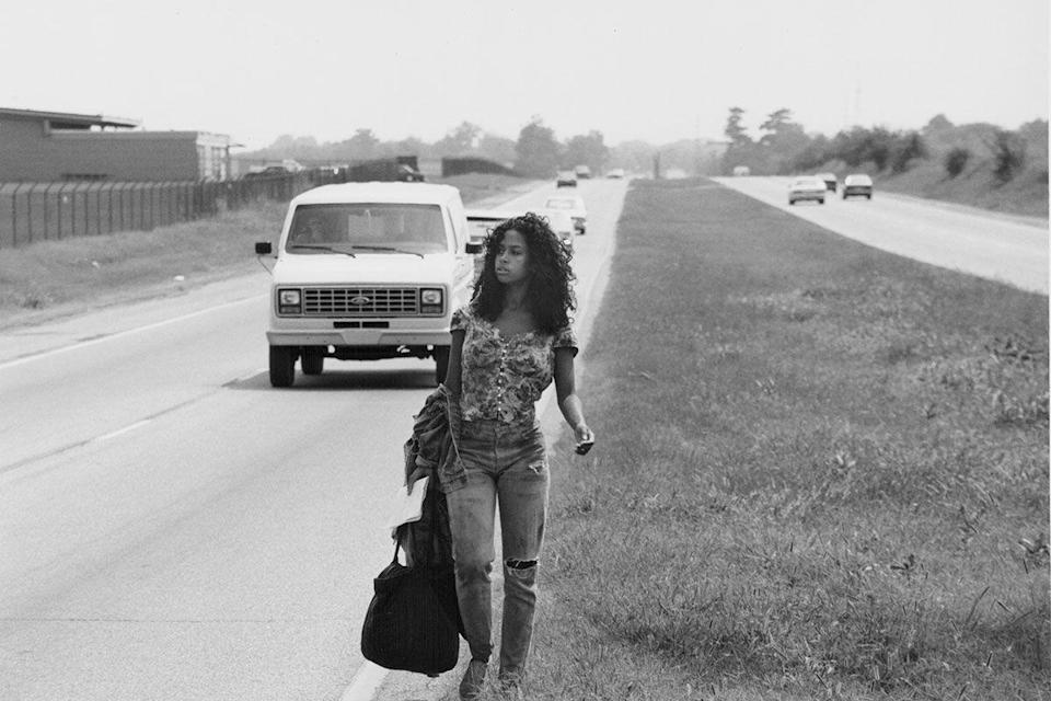 <p>In a scene from <em>Tennessee Waltz</em>, Stacey Dash wears distressed denim with a floral top. So '80s.</p>