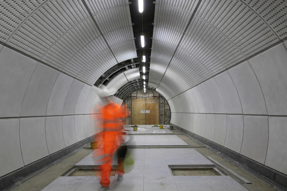 <p>Work continues on a platform tunnel at Tottenham Court Road. </p>