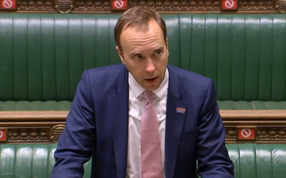 A video grab from footage broadcast by the UK Parliament's Parliamentary Recording Unit (PRU) shows Britain's Health Secretary Matt Hancock updating MPs on the COVID-19 pandemic, in the House of Commons in London on October 19, 2020 - PRU/AFP via Getty Images