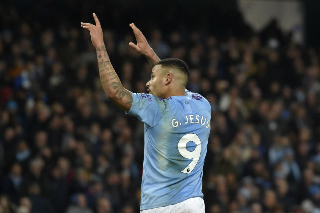 Manchester City's Gabriel Jesus celebrates after scoring his side's third goal during the English Premier League soccer match between Manchester City and Leicester City at Etihad stadium in Manchester, England, Saturday, Dec. 21, 2019. (AP Photo/Rui Vieira)