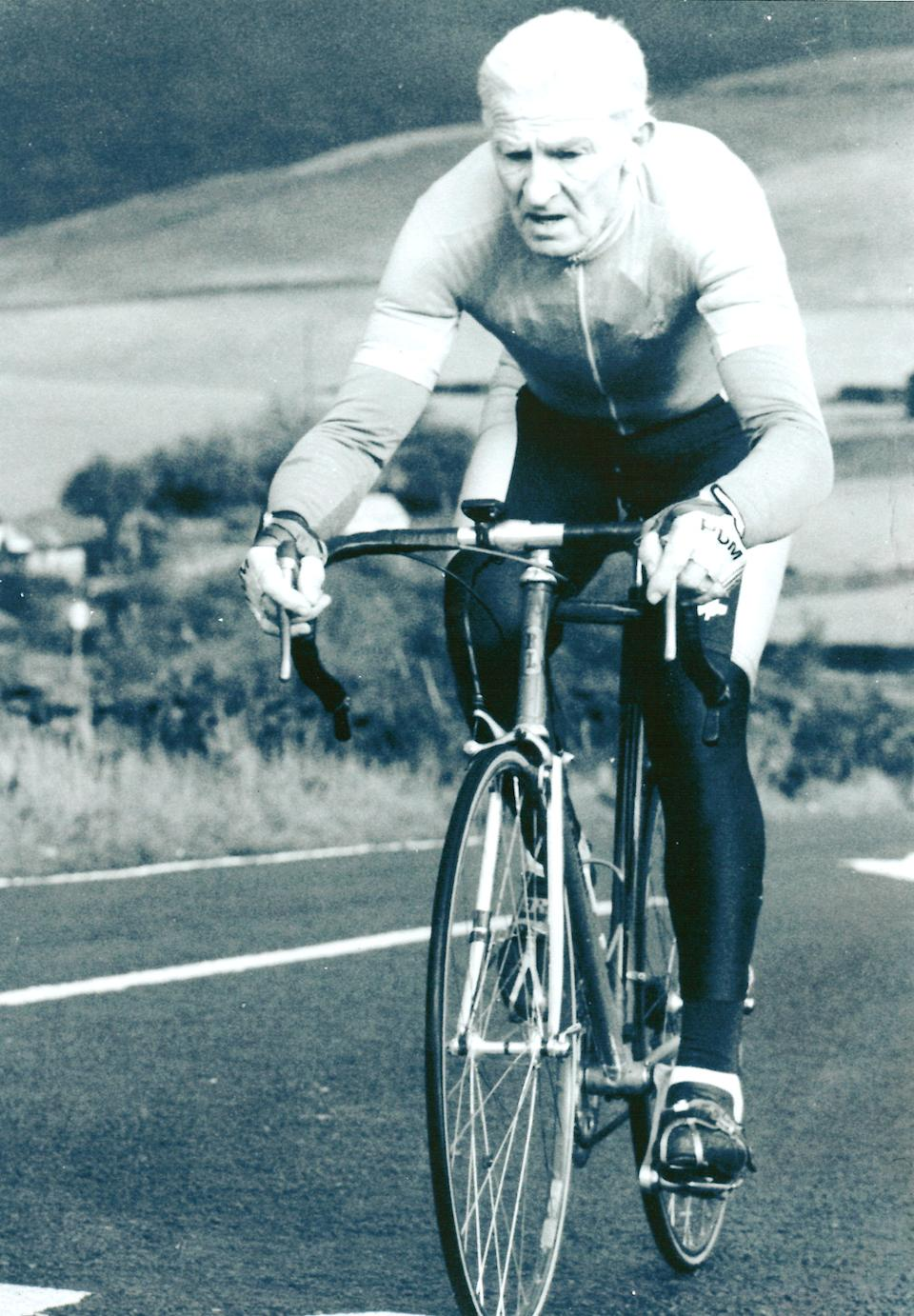 Ron Longstaff riding in Derbyshire - unknown date. See SWNS copy SWLECYCLE: Britain's oldest cyclist still clocks up a staggering 150 miles per week after pushing the pedals for more than 70 years and has no plans to stop - at the grand age of 93. Sprightly grandad Ron Longstaff has cycled more than a million miles since being bought his first lightweight racing bike by his father in 1946. The pedal-powered pensioner, who has a collection of 11 bikes, still gets out on the road three times a week and has no intention of hitting the brakes just yet.