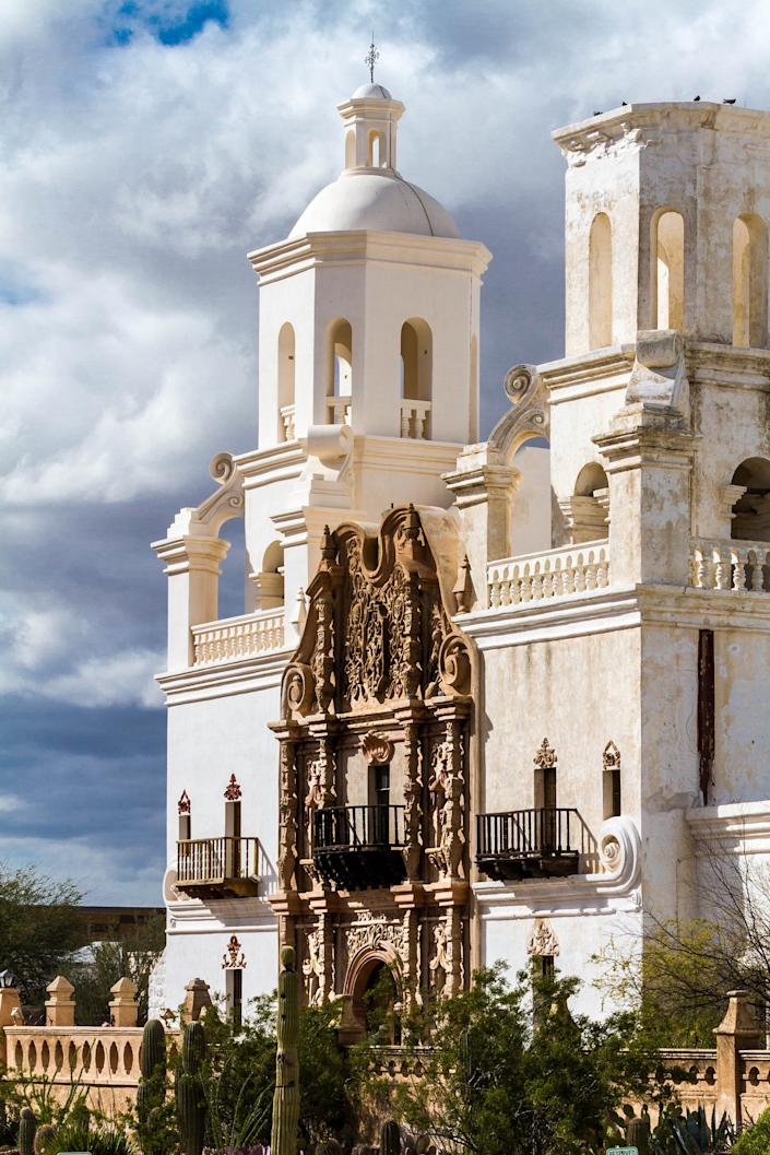 The Mission San Xavier del Bac south of downtown Tucson is noted for its elegant Spanish colonial architecture.