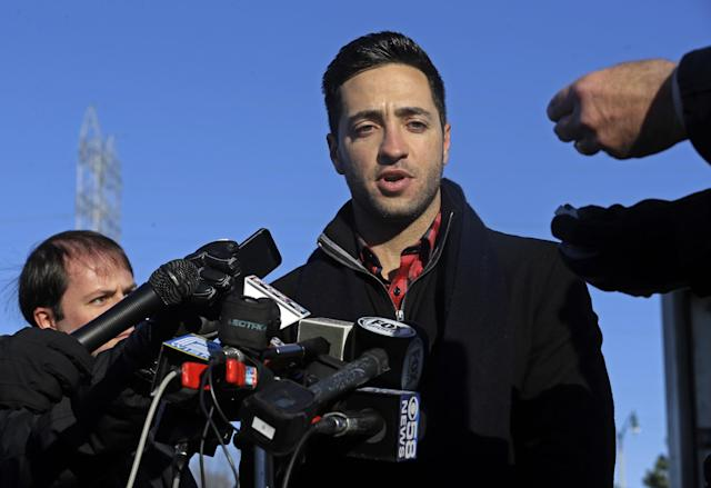 Milwaukee Brewers outfielder Ryan Braun talks about his baseball suspension outside Miller Park Wednesday, Nov. 27, 2013, in Milwaukee. (AP Photo/Morry Gash)